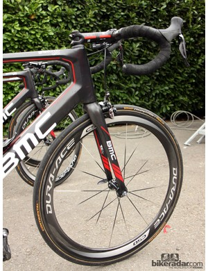 Carbon wheels were once rarely seen even at Ronde van Vlaanderen but now they're standard fare. Taylor Phinney (BMC Racing Team) plans on using Shimano's 50mm-deep Dura-Ace carbon tubulars