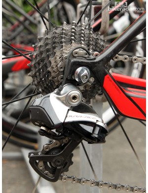 The Di2 internal wire routing is especially tidy on Taylor Phinney's (BMC Racing Team) BMC GranFondo GF01
