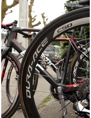 Shimano Dura-Ace WH-9000-C50-TU carbon tubular wheels for Taylor Phinney (BMC Racing Team)