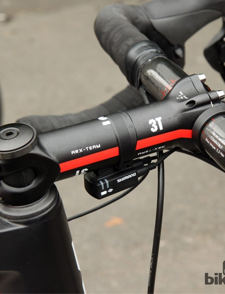 BMC normally recommends that a rider of Taylor Phinney's (BMC Racing Team) height ride a 61cm frame. However, the 58cm size allows for a 24mm-lower front end but requires him to use a 140mm-long stem