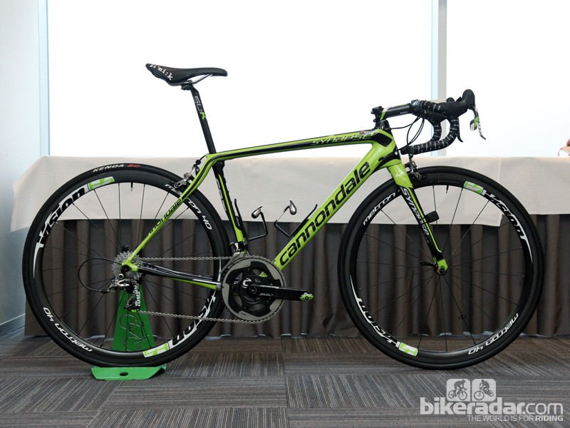 Peter Sagan (Cannondale Pro Cycling) is on a rather extreme custom Synapse Hi-Mod for Ronde van Vlaanderen and Paris-Roubaix, built with the length of a 58cm frame but the height of a 51cm one