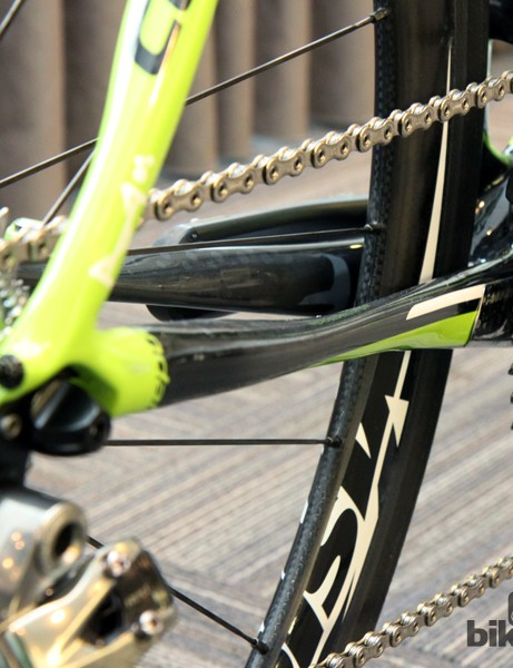 Another look at the wildly shaped chain stays on Peter Sagan's (Cannondale Pro Cycling) custom Cannondale Synapse Hi-Mod