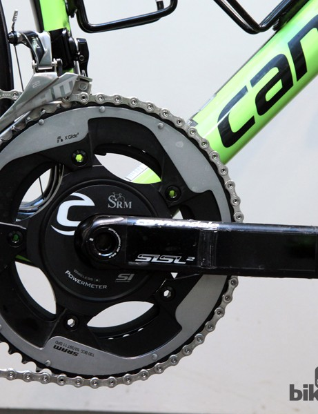 Peter Sagan is using an SRM power meter crank based on Cannondale Hollowgram Si SL hollow aluminum crankarms