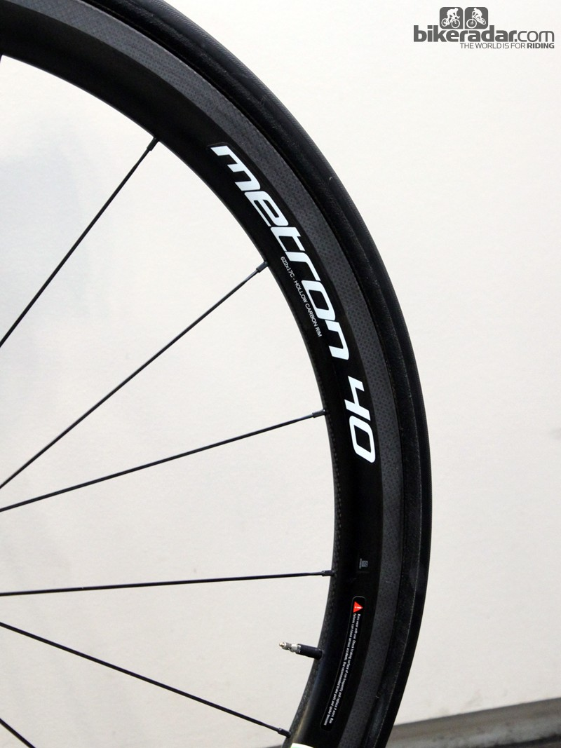 Sagan's bike was fitted with Vision Metron 40 carbon wheels when we caught up with it on Friday before Ronde van Vlaanderen