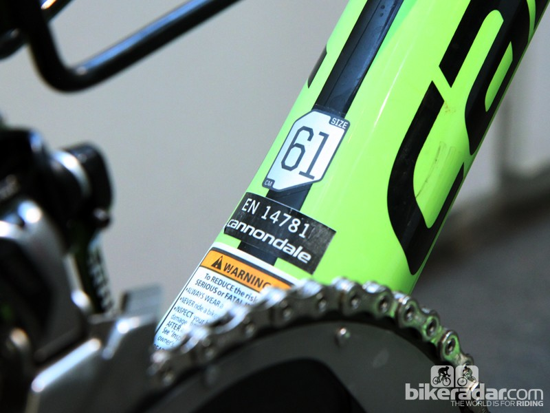 Peter Sagan (Cannondale Pro Cycling) is most definitely not riding a standard 61cm frame in any sense
