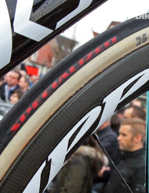 Specialized and FMB have formally joined forces for team tyres at this year's cobbled classics. The hybrid tubulars use FMB's ultra-supple handmade cotton casings and Specialized's Gripton rubber compounds and tread patterns
