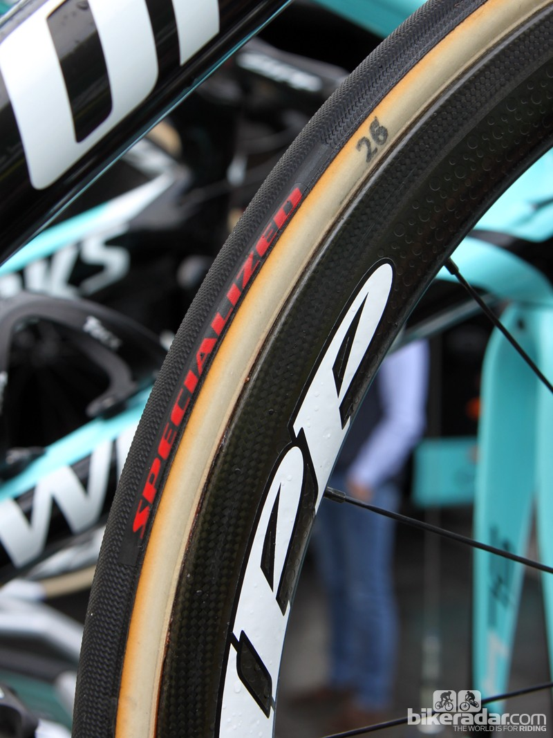 """Specialized and FMB have made 26, 28, and 30mm wide sizes available for teams to use this season. A """"limited quantity"""" will be offered to the public - but race favorite Tom Boonen (Omega Pharma-QuickStep) of course has them already"""