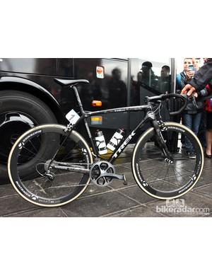 Fabian Cancellara's (Trek Factory Racing) Trek Domane Classics just before the start of the Ronde van Vlaanderen, resplendent in his typical custom paint