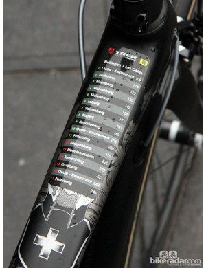 While most of the peloton resorted to rough, handwritten course notes, Trek Factory Racing provided its riders with these tidy pre-made decals