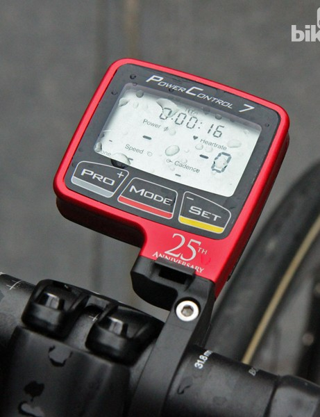 An anodized aluminum SRM PowerControl 7 computer for Fabian Cancellara (Trek Factory Racing)