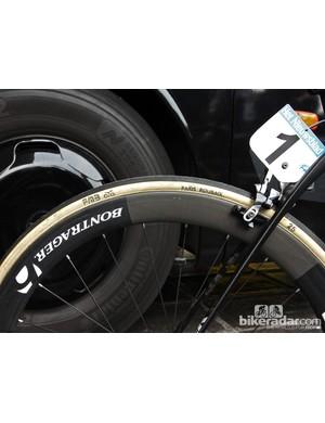 25mm-wide FMB Paris-Roubaix handmade cotton tubulars and 50mm-deep Bontrager Aeolus 5 D3 Classics wheels for Fabian Cancellara (Trek Factory Racing) at Ronde van Vlaanderen