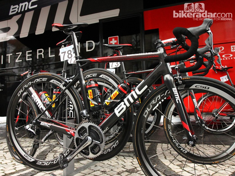 Greg Van Avermaet's (BMC) BMC SLR01 just prior to the start of this year's Ronde van Vlaanderen