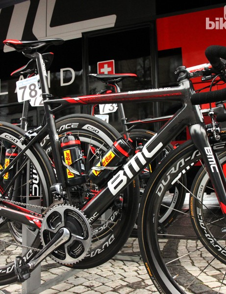 Greg Van Avermaet's (BMC) BMC SLR01 just prior to the start of this year's Ronde van Vlaanderen