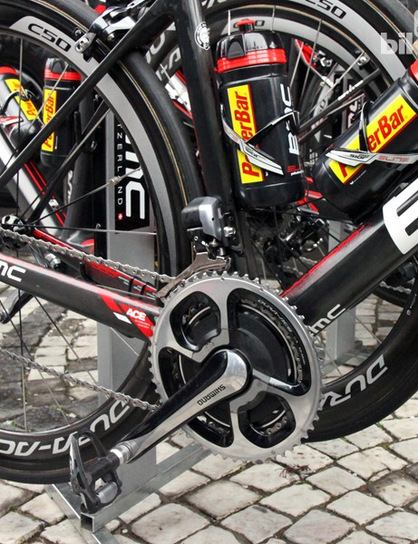 Greg Van Avermaet's (BMC) electrified drivetrain includes a Shimano Dura-Ace Di2 9070 group and SRM's latest power meter