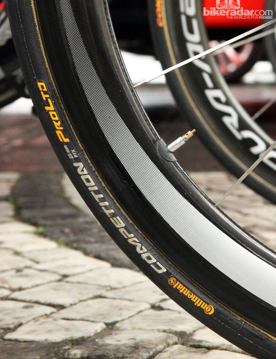 25mm-wide Continental Competition Pro Limited PTX tubulars for BMC team leader Greg Van Avermaet