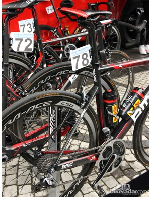 The rear end of Greg Van Avermaet's (BMC) BMC SLR01 doesn't include as many visual comfort features but it's actually a very cushy ride