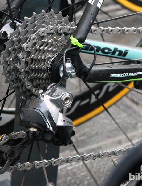 An extra zip tie keeps the Shimano Dura-Ace Di2 safely tucked away on Sep Vanmarcke's Belkin Bianchi Infinito CV