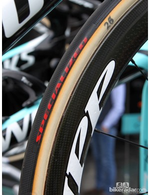 Specialized's new team tires feature the company's own tread compound and pattern glued on to FMB handmade cotton tubular casings