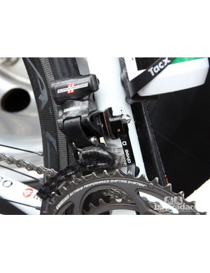 This Europcar Colnago's Campagnolo Super Record EPS front derailleur is installed with a bit of friction tape to keep it from moving. In keeping with the team's French tendencies, there's also an Aivee adjustable chain catcher - just in case