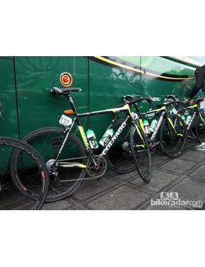 Other Europcar riders such as Antoine Duchesne (132) and Tony Hurel (135) used Colnago's C59 and M10 frames, respectively