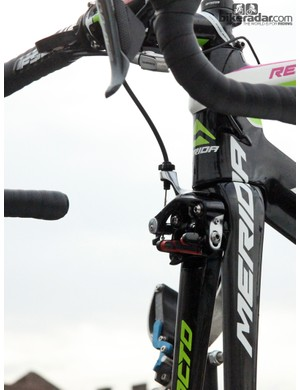 Lampre-Merida's Merida Reacto Evo frames also use direct-mount front brake calipers. An inline quick-release is used for the rear caliper for faster wheel changes