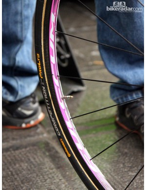 Shallow-profile Fulcrum carbon tubular wheels for Sacha Modolo (Lampre-Merida)