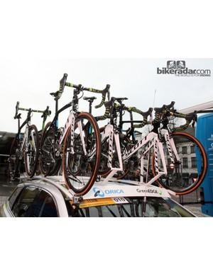 A fleet of Scott Foils sit atop the Orica-GreenEdge team car before the start of Ronde van Vlaanderen