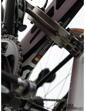 While it looks nice to have rider names on the bikes up on the top tube, this location is much more useful for the mechanics when it comes time to haul one off of the team car
