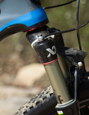 The RockShox SID XX World Cup fork features a remote hydraulic lockout that sits near his left-hand