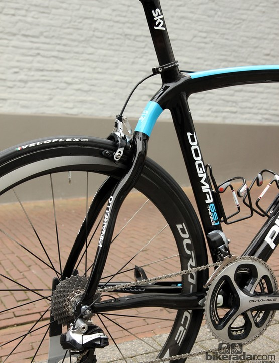 The distinctively wiggly rear end of Pinarello's Dogma 65.1 Think2…
