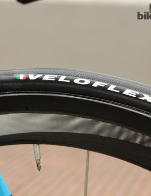 Veloflex Arenberg tubular tires for Geraint Thomas (Sky). Team mechanic Gary Blem wouldn't disclose the inflation pressures
