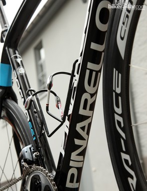 A big Pinarello logo is on the bottom of the down tube for the finish line photos