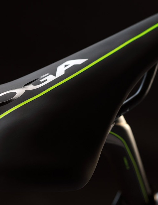 The own brand saddle matches the frame colour and comes with carbon rails