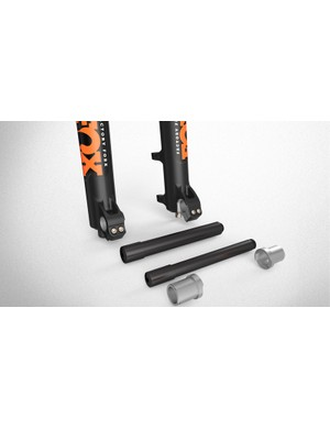 The new 36 fork comes with adapters that will allow riders to swap between 15mm and 20mm thru-axle systems