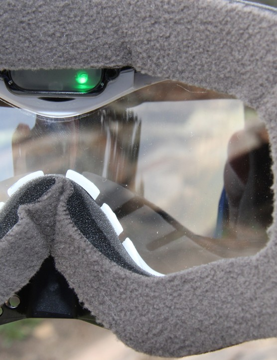 Lights inside the goggles let you know when the camera is recording