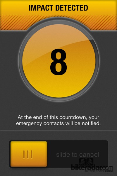 If an impact is detected the app begins an emergency countdown