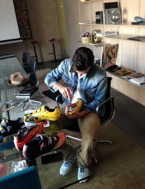 Millar screwing his cleats in before going for a ride. We guess he's going to be doing a lot of that in 2014