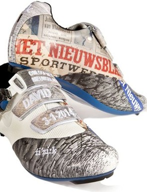 Cobbles and a newspaper make their way into the design on the het Nieuwsblad shoes