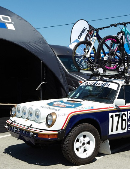 GoPro had this stunning 1980 Porsche 911 rally car on display with a spanking new Santa Cruz Nomad on the roof!