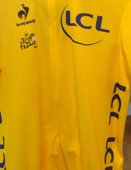 This year's yellow jersey has a subtle Yorkshire rose emblazoned on the front