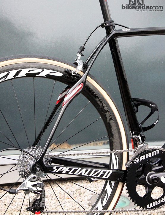 The unmistakable rear end of the Specialized S-Works Roubaix SL4