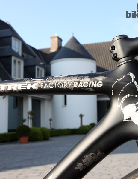 One of the only differences on Fabian Cancellara's (Trek Factory Racing) Trek Domane Classics this year is the updated team name on the top tube