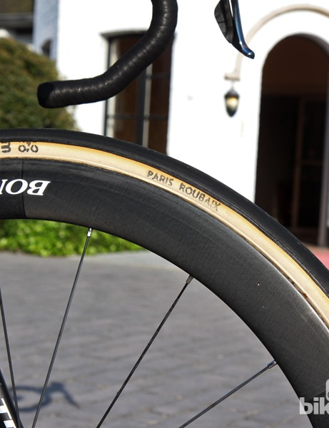 27mm-wide FMB Paris-Roubaix tubulars on 50mm-deep Bontrager Aeolus 5 D3 Classics carbon wheels for Fabian Cancellara (Trek Factory Racing)