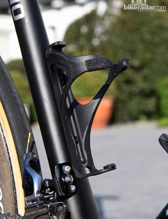 Small pieces of grip tape provide a little extra security for the Trek BAT bottle cages