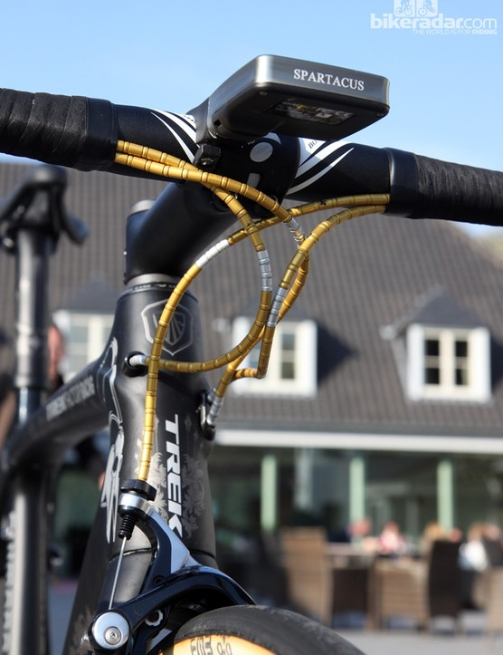 Fabian Cancellara's (Trek Factory Racing) bikes have featured gold anodized Nokon aluminum housing for some time now
