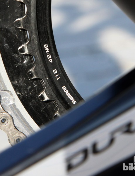 While many Paris-Roubaix contenders go with 44- or 46-tooth inner chainrings, Fabian Cancellara (Trek Factory Racing) instead prefers to spin his 42T at a high cadence