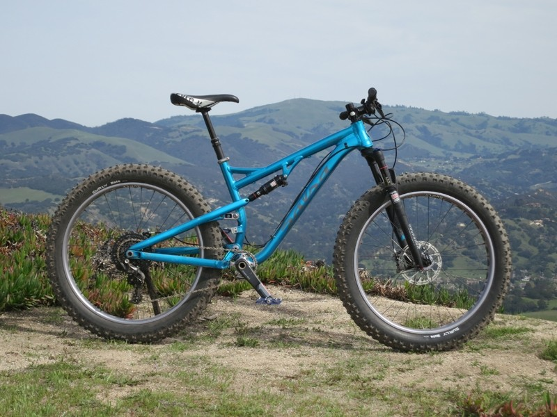The Salsa Bucksaw is a full suspension fat bike with 100mm of front and rear travel