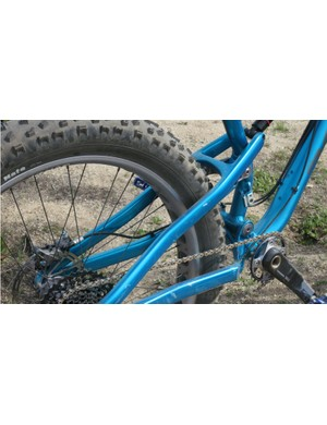 The Bucksaw has an aluminum frame with carbon seatstays to bolster rear-end stiffness