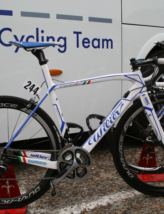 Davide Frattini's (United Healthcare) Wilier Cento 1 SR standing outside the team bus, bedecked in blue anodized K-Edge accessories