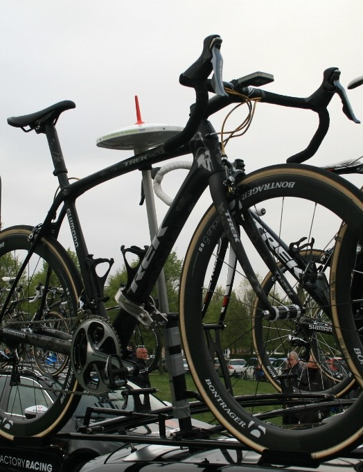 Trek Factory Racing arrived with Fabian Cancellara's bike at the vanguard – they even travelled with his SRM in situ